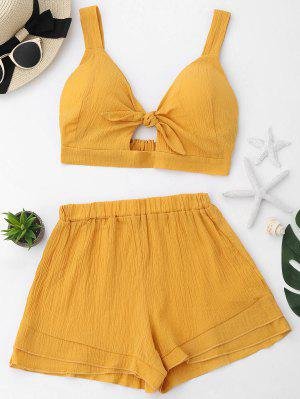 Cut Out Crop Top And Shorts Set - Ginger - Ginger Xl