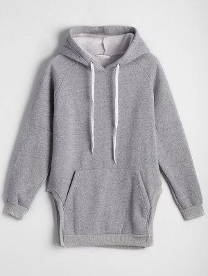 Side Slit Oversized Hoodie With Front Pocket - Gray