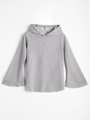 Casual Loose Flare Sleeve Hoodie - Gray