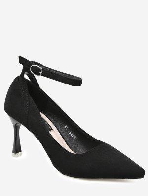 Pointed Toe Ankle Strap Pumps - Black 38
