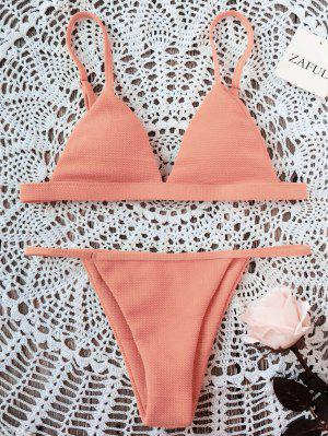 Spaghetti Strap High Cut Bikini Set - Orangepink 2xl