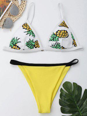 Pineapple Print Cami Cheeky Bikini Set - Xl
