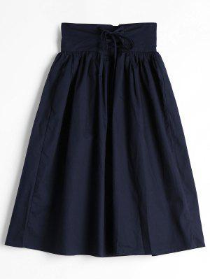 Lace Up High Waist A Line Skirt - Purplish Blue - Purplish Blue Xl