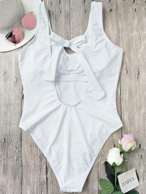 Back Tied High Cut One Piece Swimwear - White S