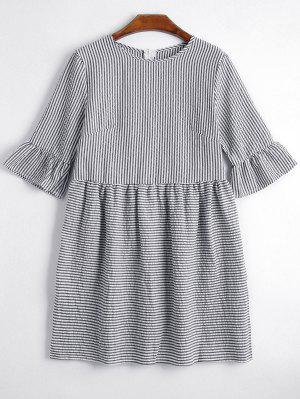 Round Collar Striped Dress - Black - Black Xl