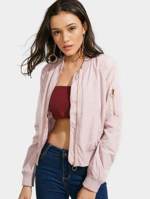 Invisible Pockets Zippered Bomber Jacket - Pink L