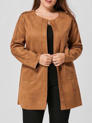 Plus Size Faux Suede Open Front Coat