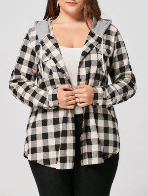 Plus Size Flap Pockets Plaid Shirt Hoodie