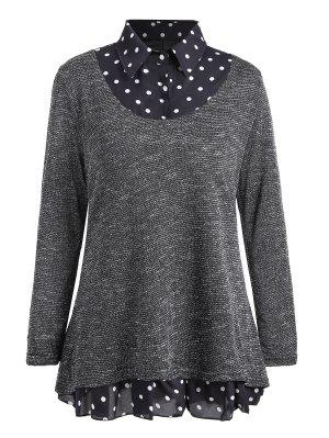 Plus Size Polka Dot Overlay Knit Top