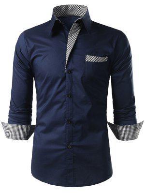 Plaid-trim Long Sleeve Shirt