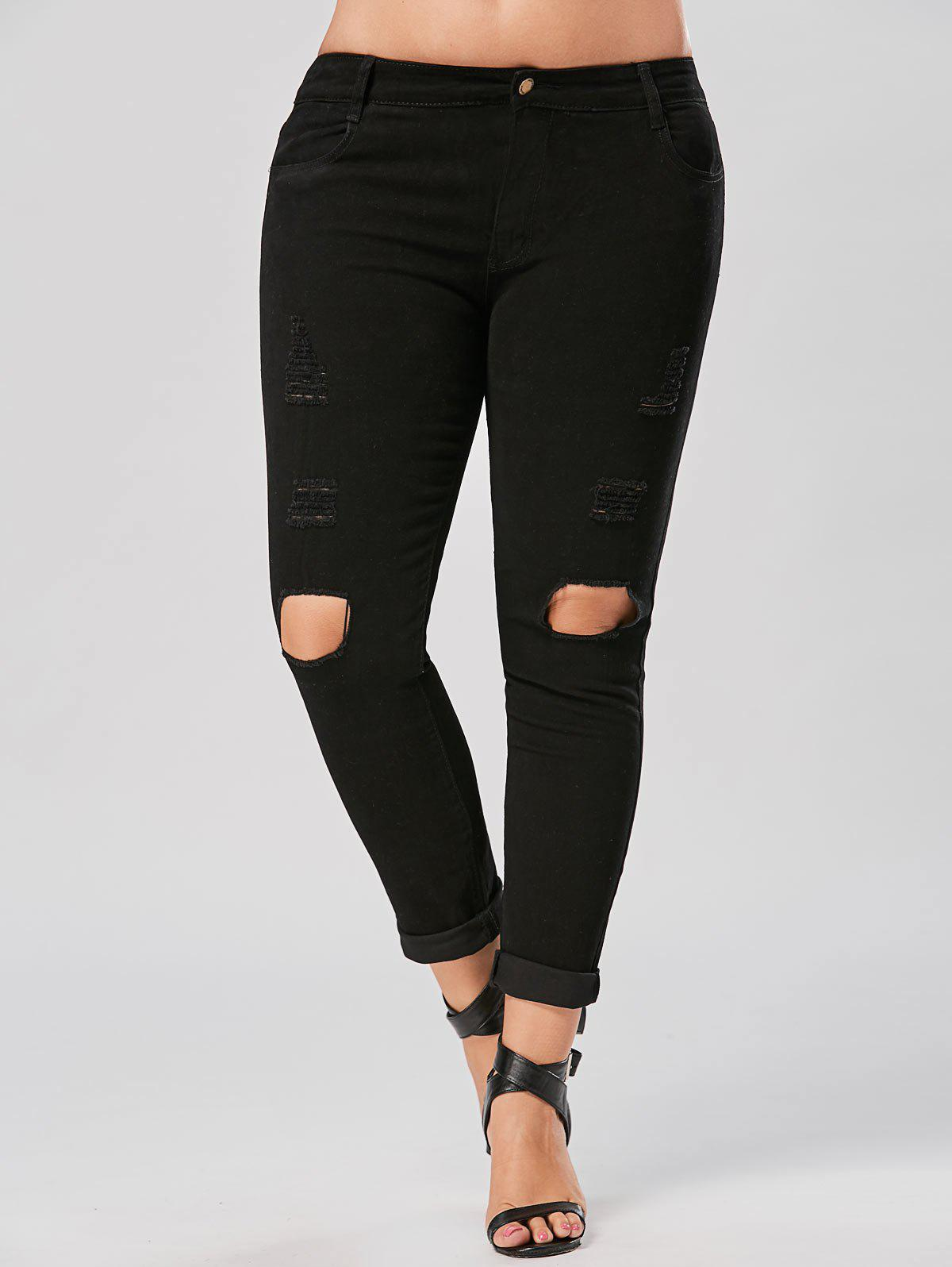 Plus Size Destroyed Slim Fit Jeans 223044301
