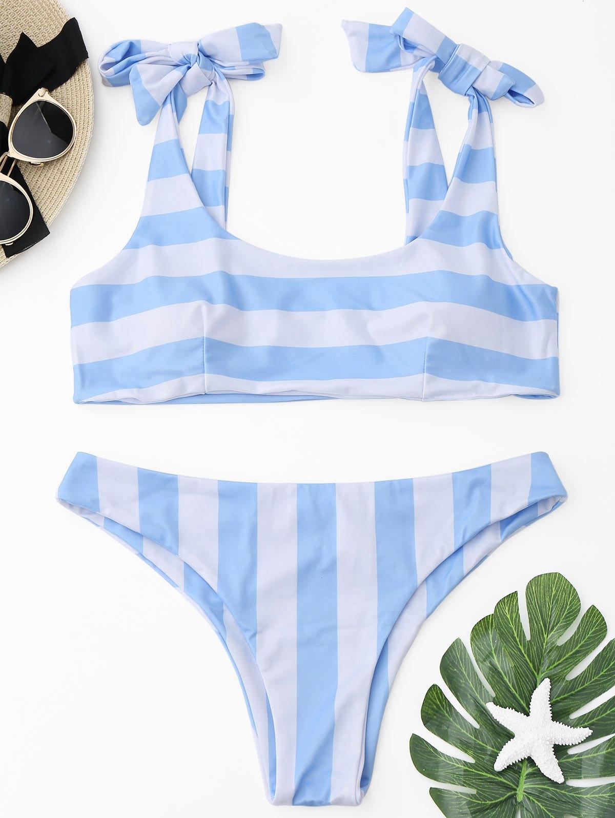Ensemble de bikini à rayures auto-lié
