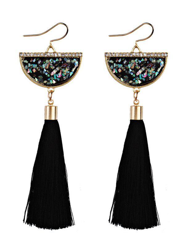 Tassel Pendant Half Round Fish Hook Earrings