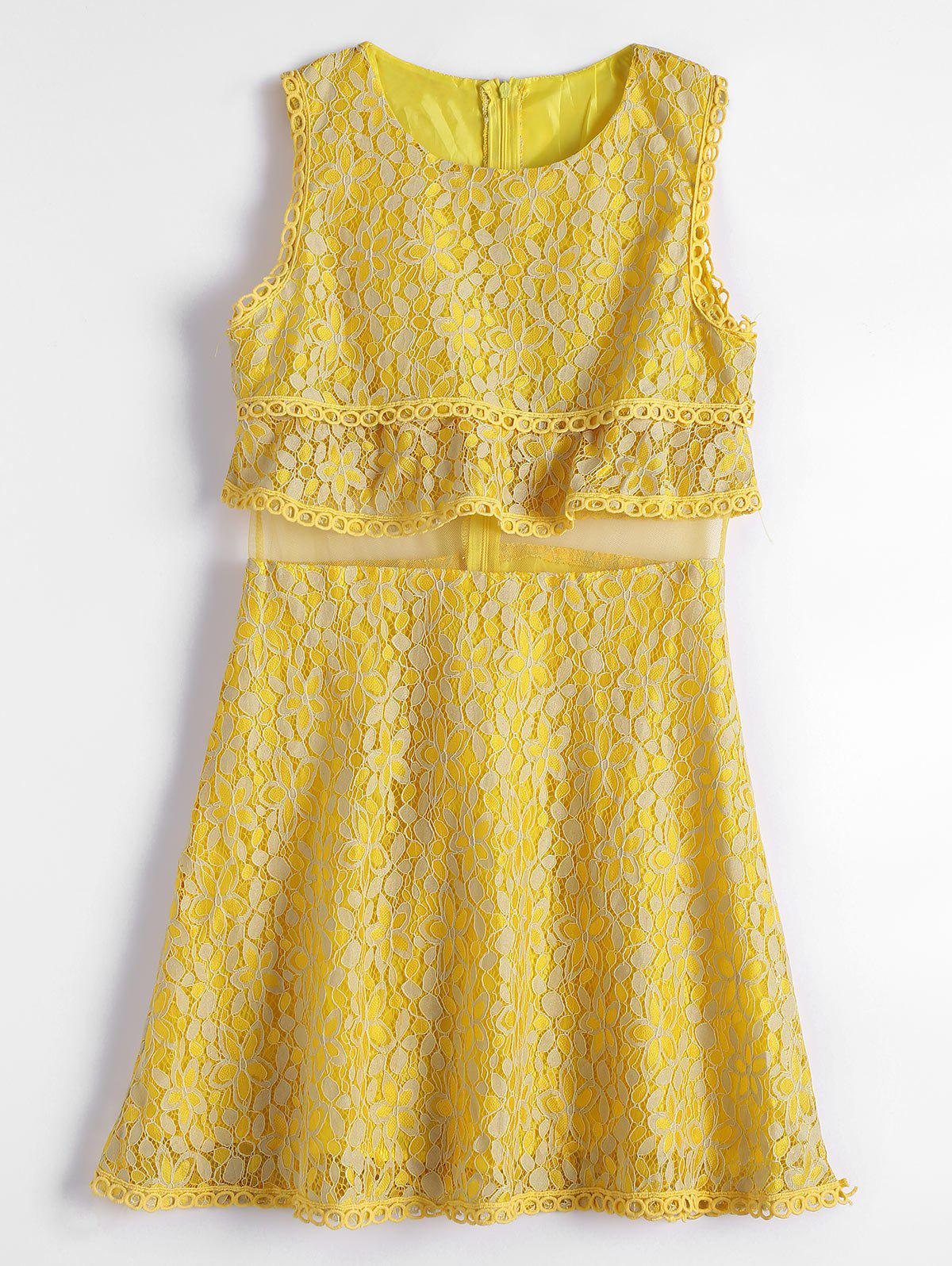 Image of Mesh Panel Tiered Flare Lace Dress