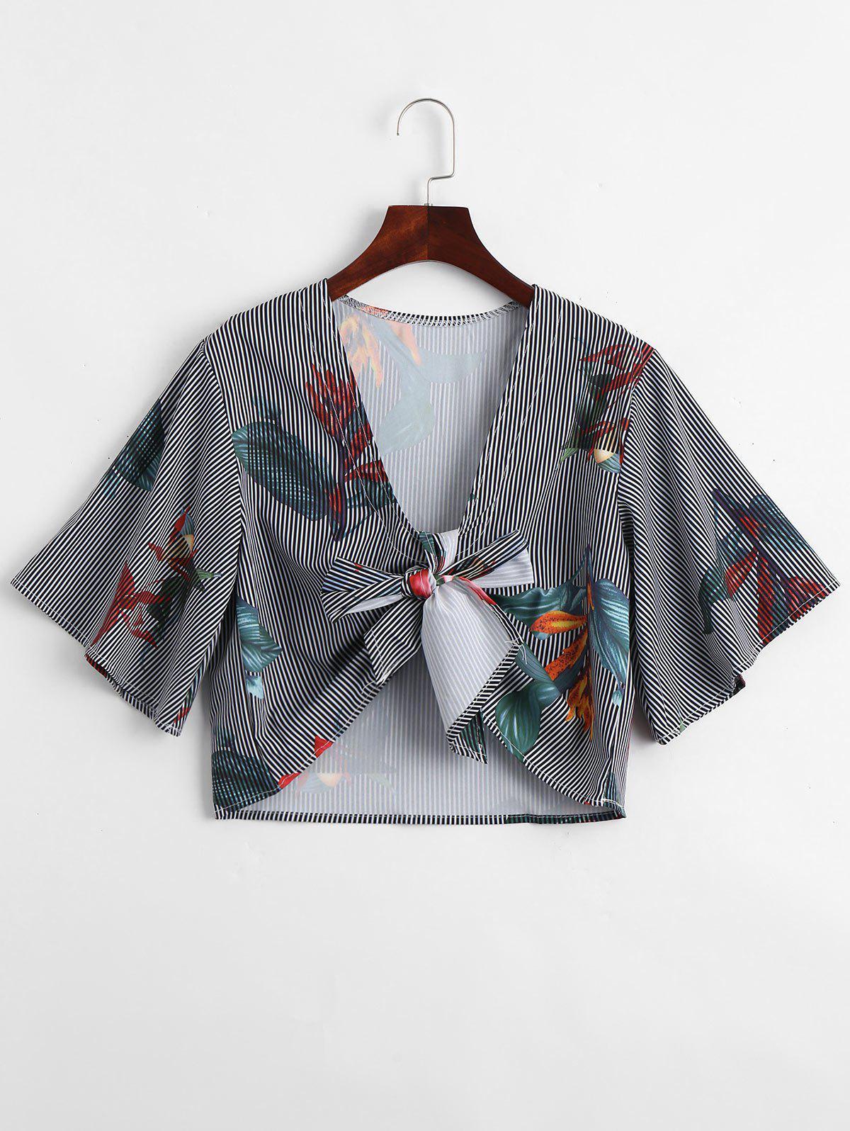 Gestreifte Bluse mit tiefem Ausschnitt ,Bltenmuster und Grtel