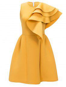 فستان كشكش بلا أكمام سهري - الأصفر M