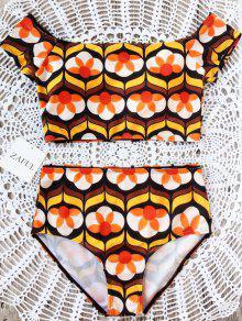 Gedruckt Vom Schulter-Bikini-Set - Blumen L