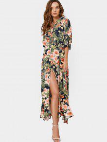 Robe Maxi à Rayures - Floral S