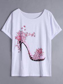 Camiseta Larga Floral De La Impresión Del Tacón - Rosa Luz S