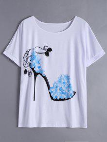 Floral High Heel Print Long Tee - Sky Blue S