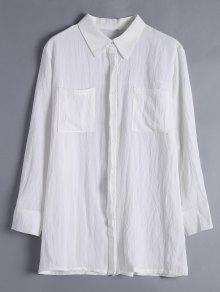 Button Up Longline Pocket Shirt - White L
