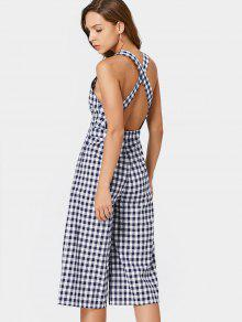 Criss Cross Checked Cut Out Jumpsuit - Checked S