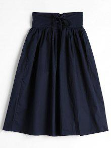 Lace Up High Waist A Line Skirt - Purplish Blue S