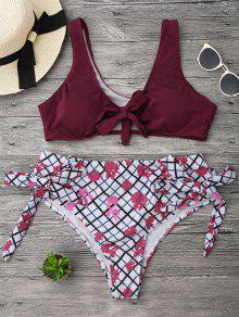 Convertible Grid Plus Size Bikini - Burgundy Xl