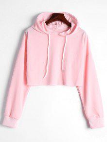 Drop Shoulder Drawstring Crop Hoodie - Light Pink S