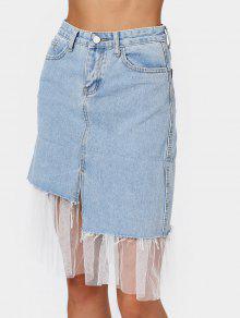 High Waisted Voile Panel Denim Skirt - Denim Blue L