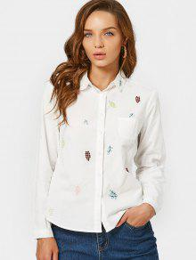 Button Down Grape Embroidered Shirt - White L