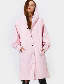 Hooded Button Up Double Side Trench Coat - Pink L