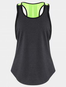 Back Slit Color Block Sporty Top - Deep Gray L