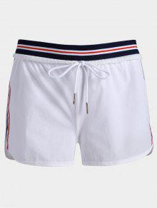 Striped Double Layered Sporty Shorts - White S