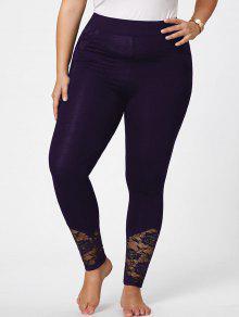 Pantalones Flacos De Talla Grande De Encaje - Morado Oscuro Xl
