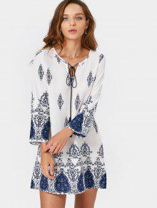 Long Sleeve Printed Tassels Mini Dress - Blue And White M