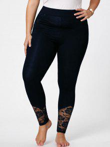 Pantalones Flacos De Talla Grande De Encaje - Azul Negro 5xl
