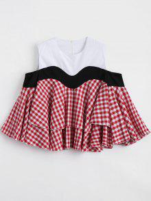 Checked Panel Loose Cold Shoulder Blouse - Checked