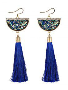 Tassel Pendant Half Round Fish Hook Earrings - Blue