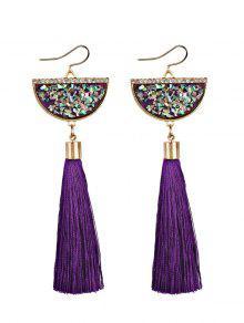 Tassel Pendant Half Round Fish Hook Earrings - Purple