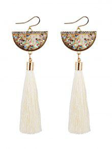 Tassel Pendant Half Round Fish Hook Earrings - White