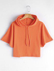 Drawstring Cropped Hoodie - Orange Yellow S
