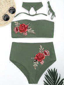 Bandeau Floral Applique High Waisted Bikini - Army Green S