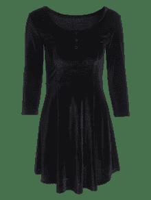 Xl Vestido De Machacado Negro Bot De Terciopelo Medio 243;n HvUq8Hwa