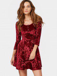 Half Button Crushed Velvet Mini Dress - Wine Red Xl