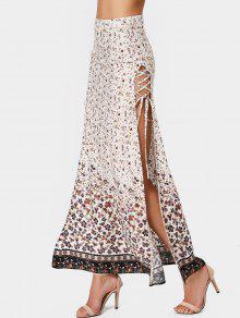 Slit Tiny Floral Lace Up Maxi Skirt - Floral Xl