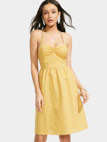 Open Back Criss Cross Ruched Cami Dress - Yellow S