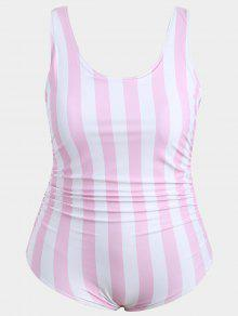 Plus Size Striped One Piece Swimsuit - Pink And White Xl