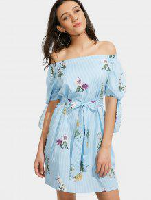 Off The Shoulder Floral Striped Belted Dress - Light Blue M