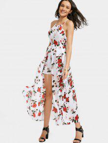 Floral Print Criss Cross Cami Dress - White Xl